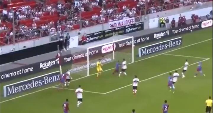 Yusuf Demir se estrenó como goleador azulgrana. Captura/BaçaTv