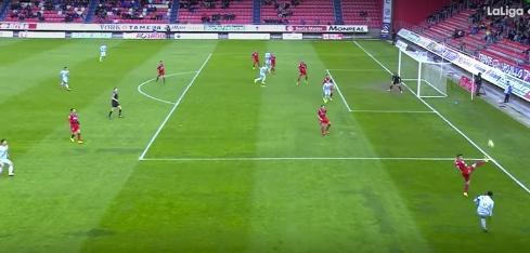 El gol de Álex Moreno fue anulado porque el balón salió por línea de fondo. Twitter