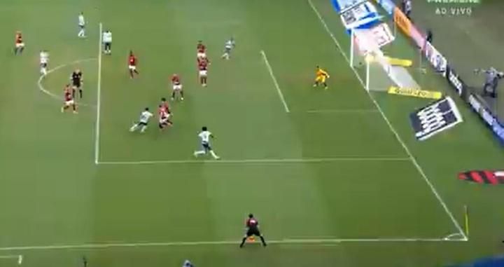 Gol anulado de Rony na partida entre Flamengo e Palmeiras pela 1º rodada do Brasileirão 2021. Captur