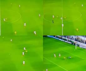 El gol anulado a Defensa y Justicia fue muy protestado. Captura/Fox Sports