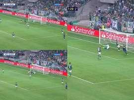 Ábila deixou Luan na saudade e marcou o primeiro do jogo. Captura/SporTV