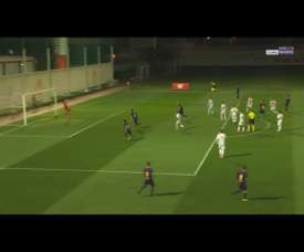 But d'Álex Collado lors de l'Olympiakos-Barcelone en Youth League. BeINSports