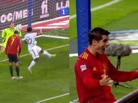 La rete di Morata contro la Germania. La1