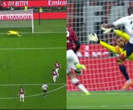 Donnarumma tried his best, but Lecce made it 1-1 in Milan. Captura/Vamos