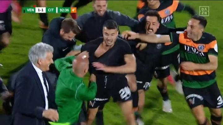 El Venezia asciende a la Serie A. Captura/DAZN
