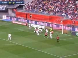 Rabiot adelantó al Rennes a las 12 minutos. Captura/beINSports
