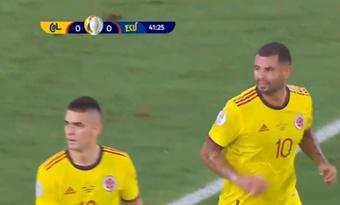 Cardona anotó el 1-0 para Colombia. Captura/WinSports