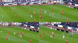 Cristiano marque même en tombant. Capture/Montage