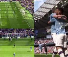 Dois minutos e gol de De Bruyne. Capturas/SportTV2