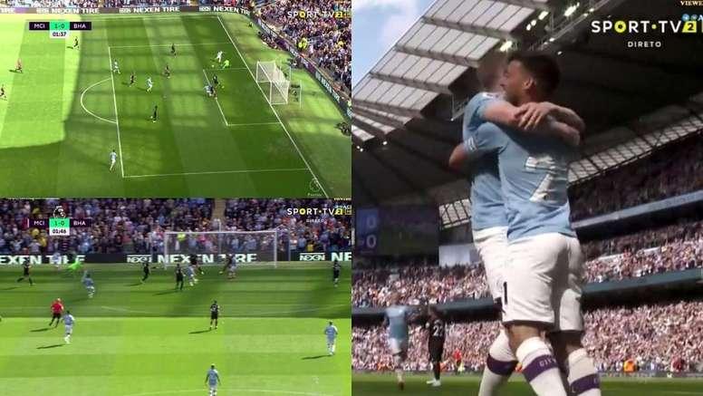 De Bruyne gave Man City a very early lead against Brighton. Capturas/SportTV2