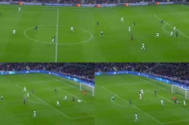 But de Dembélé lors du Barcelone-Tottenham. Capture/Movistar