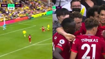 Diogo Jota gave Liverpool the lead against Norwich. Screenshot/DAZN