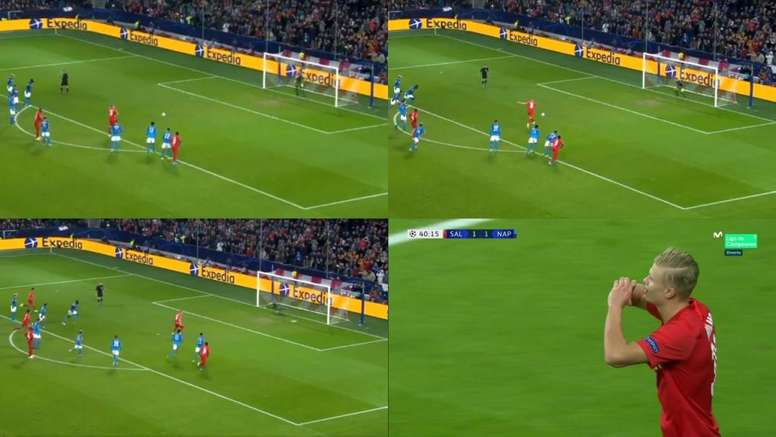 Haland drew Salzburg level against Napoli from the spot. Montaje/Capturas/MovistarLigadeCampeones
