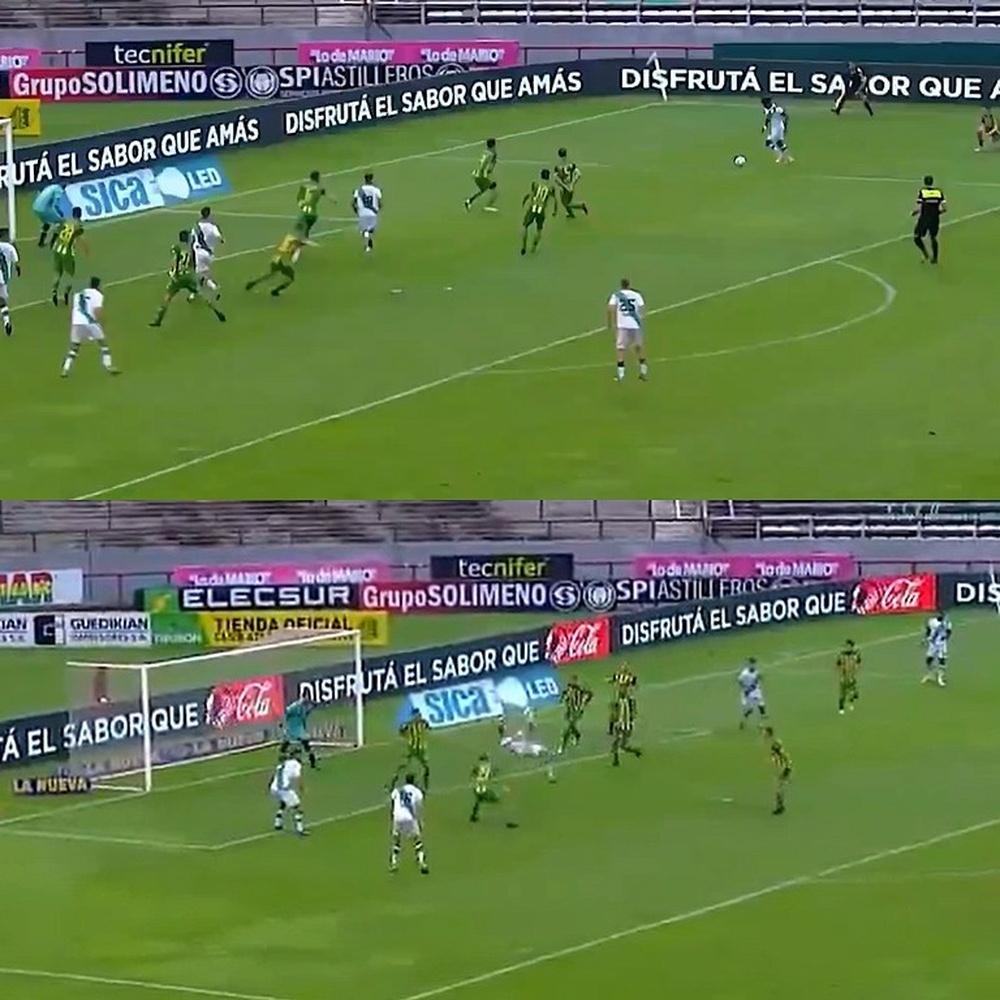 Así fue la vistosa chilena de Galoppo que supuso el empate de Banfield. Captura/TNTSports