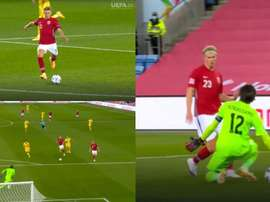 Odegaard assisted and Haaland scored for Norway. Captura/UEFA.tv