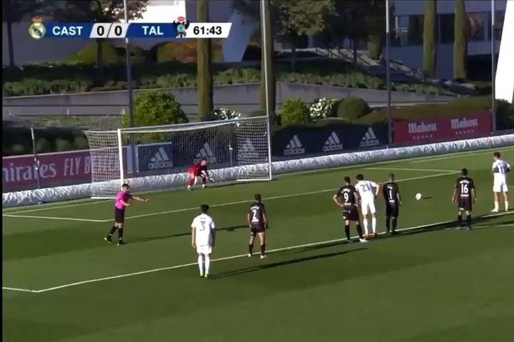 El Real Madrid Castilla empató ante el Talavera en Valdebebas. Captura/RealMadridTV