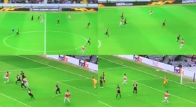 Joe Willock marca el primer gol del Arsenal. Captura/BTSport2