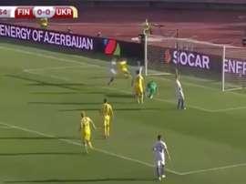 El extremo ucraniano abrió el marcador ante Finlandia. Twitter