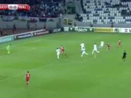 Lawrence's first goal for Wales. Twitter