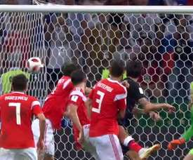 Mario Fernandes headed home to make it 2-2 in extra time against Croatia. ITV