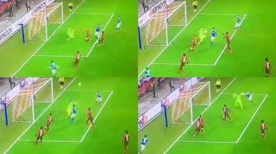 Milik marque après une action ubuesque. Capture/Movistar Ligue des champions