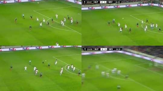 But de Munir lors du Slavia-Séville. Capture/Movistar Liga de Campeones