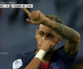 Neymar fez o seu primeiro gol na temporada 2018/19. Captura/ESPN