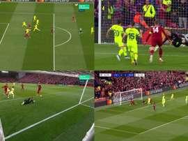 Origi marca e a euforia toma conta de Anfield. Captura/Movistar