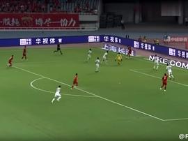 Gol de Oscar en el Shanghai SIPG ante el Changchun Yatai 22-09-2018. Twitter/Failgoal