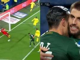 Raúl  de Tomás también debutó marcando en Liga. Capturas/Movistar+