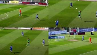 A Carroll le marcaron un curioso gol. Capturas/TheGuardian