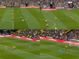 Long marque le but le plus rapide de l'histoire de la Premier League. Capture/Movistar