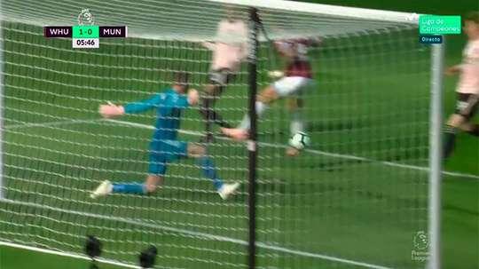 El West Ham se adelantó a los seis minutos. Captura/Movistar+