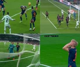 Wass lamentou o gol contra. Captura/Movistar