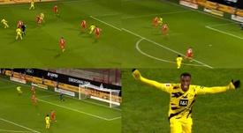 Moukoko y un gol para conseguir otro récord. Capturas/MovistarLigadeCampeones