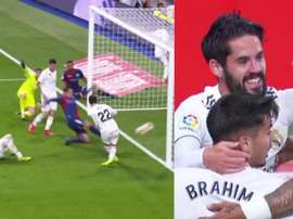 Isco scored to level for Madrid. Screenshots/Movistar