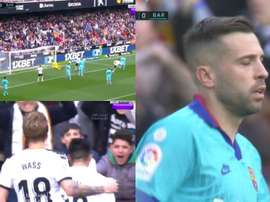 Valencia took the lead against Barcelona at the Camp Nou. Captura/beINSports/ESPN