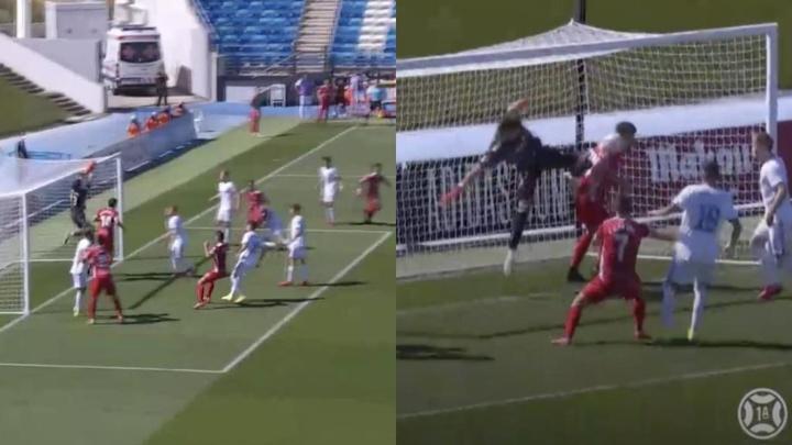 El Nàstic empató en el Alfredo di Stéfano con un gol olímpico. Captura/Footters