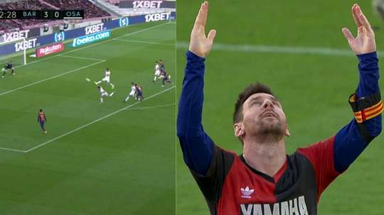 Messi dedicated his goal to Maradona. Captura/MovistarLaLiga