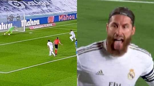 Sergio Ramos délivre le Real Madrid sans trembler sur penalty. Capture/Movistar