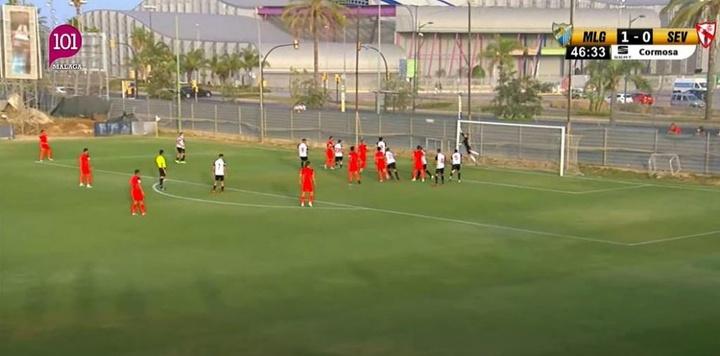 El Málaga sopla más que el terral y se gusta ante el Sevilla Atlético. Captura/101TV