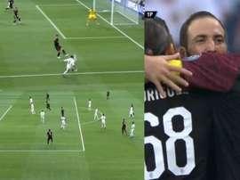 I goal di Benzema e Higuain. Captura/RealMadridTV