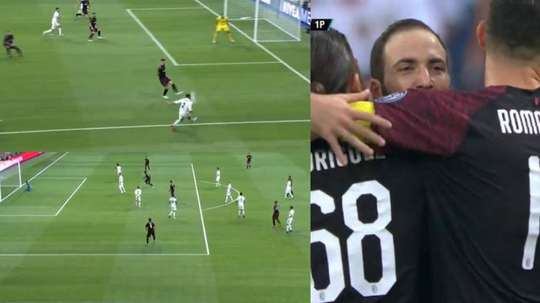 Benzema scored before Higuain shot back minutes later. Captura/RealMadridTV