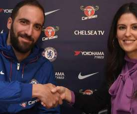 Higuain during his presentation as a Chelsea player. CHELSEAFC