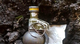 La Policía encontró una granada. Twitter/CLMerlo