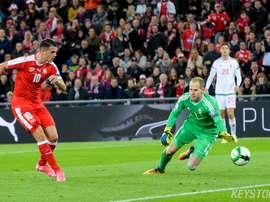 O médio do Arsenal marcou no último jogo da Suíça, frente à Hungria. Twitter/SFV_ASF