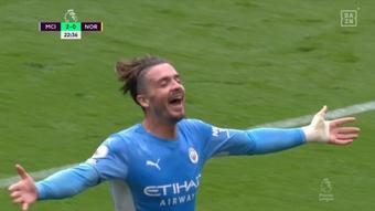 Grealish segna il primo gol con il City. DAZN