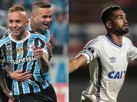 Grêmio e Bahia se enfrentam pela 28ª rodada do Campeonato Brasileiro. Collage/EFE