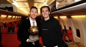 Griezmann comemora a Bola de Ouro de Messi.  Twitter/AntoGriezmann