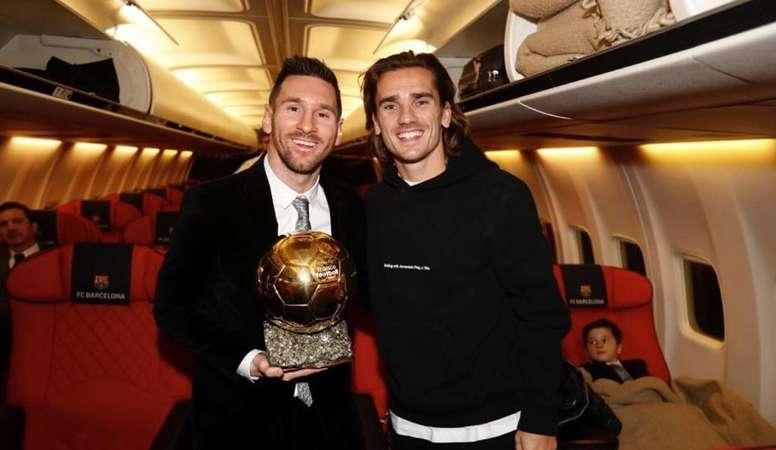 Griezmann se sumó a la celebración del Balón de Oro de Messi. Twitter/AntoGriezmann